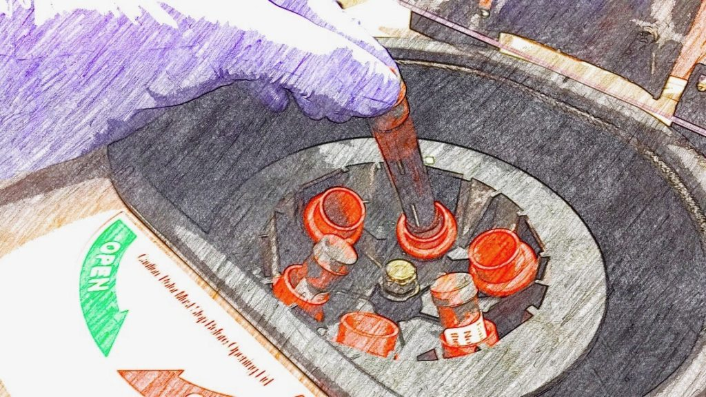 Blood vials in centrifuge