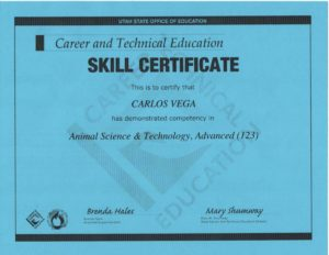 Certificate of demonstrated competency in Animal Science & Technology, Advanced (123)